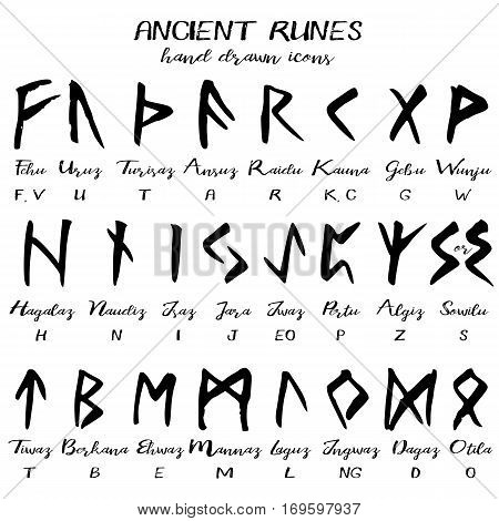 Hand drawn ancient rune alphabet written grunge font with names of runes and transliteration to latin. Vector illustration