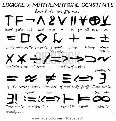 Hand drawn signs written black figures of logical and mathematical constants in grunge technique. Vector illustration