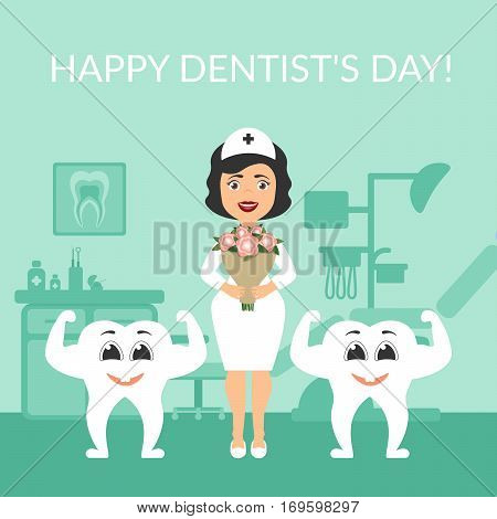 Greeting card. International day of the dentist. Dentist doctor with a bouquet of flowers. Two health Festive illustration. y beautiful white teeth. The cute characters. Vector.