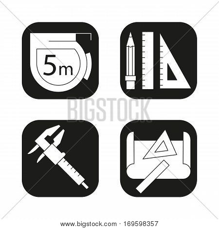 Engineering icons set.Caliper, pencil and ruler, measuring tape, drawing rulers symbol. Vector white silhouettes illustrations in black squares