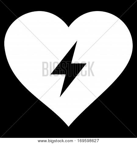 Heart Power flat icon. Vector white symbol. Pictograph is isolated on a black background. Trendy flat style illustration for web site design logo ads apps user interface.
