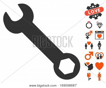 Wrench pictograph with bonus amour symbols. Vector illustration style is flat iconic symbols for web design app user interfaces.