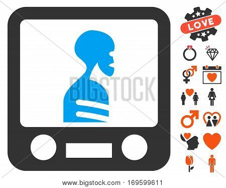 Xray Screening pictograph with bonus decorative pictograms. Vector illustration style is flat iconic elements for web design app user interfaces.