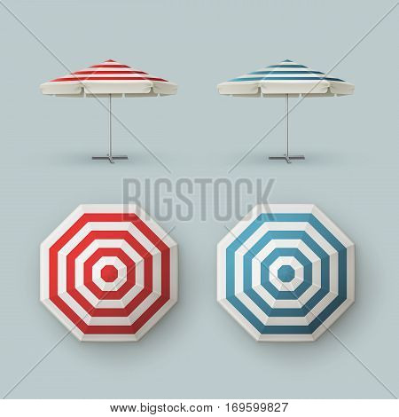 Vector Set of White Blank Red Blue Striped Patio Outdoor  Market Beach Cafe Bar Pub Restaurant Round Umbrella Parasol   for Branding Top Side View Mock up Close up Isolated on Background