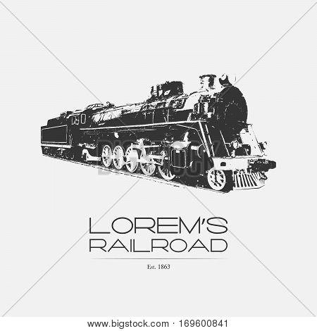 Railroad logo locomotive badge label on white background.