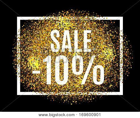 Gold Glitter Background Sale 10 Percent Off Sale Promotion Tag. New Year, Christmas Shop Offer. Gold