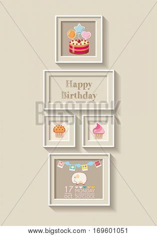 framework for invitation or congratulation. scrapbook elements. Happy birthday design. New born Baby invitation shower card.