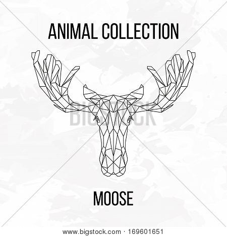 Moose head geometric lines silhouette isolated on white background vintage design element