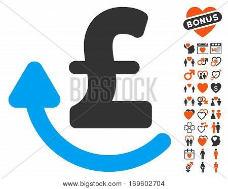 Repay Pound icon with bonus passion pictograms. Vector illustration style is flat iconic elements for web design app user interfaces.