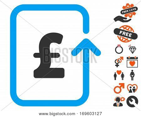 Reverse Pound Transaction icon with bonus decoration symbols. Vector illustration style is flat iconic symbols for web design app user interfaces.