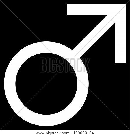 Mars Male Symbol flat icon. Vector white symbol. Pictogram is isolated on a black background. Trendy flat style illustration for web site design logo ads apps user interface.
