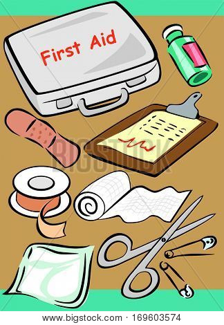 Medical Set Collection cartoon object tools of doctor and nurse including first aid safety box prescription medicine drug plaster pins gauze roll bandage adhesive tape health healthcare concept