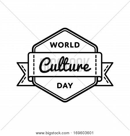 World Culture day emblem isolated illustration on white background. 15 april world educational holiday event label, greeting card decoration graphic element