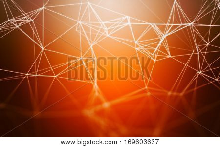 3D Abstract Polygonal Orange Background with Low Poly Connecting Dots and Lines - Connection Structure - Futuristic HUD Background