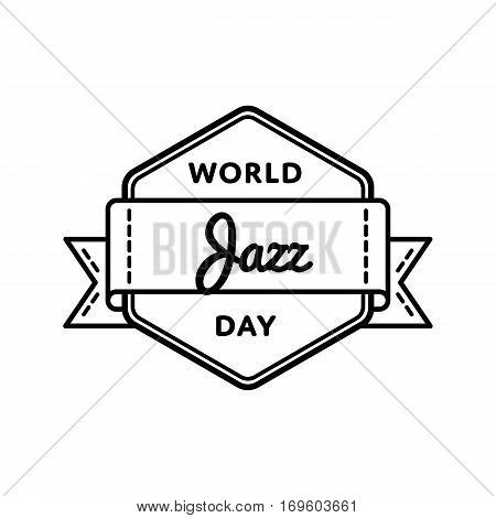 World Jazz day emblem isolated illustration on white background. 30 april world musical holiday event label, greeting card decoration graphic element