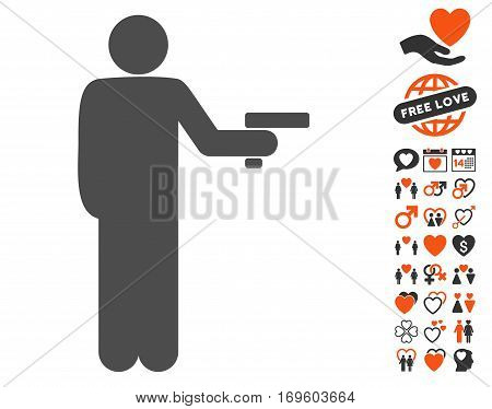 Robber With Gun pictograph with bonus romantic pictograph collection. Vector illustration style is flat iconic symbols for web design app user interfaces.