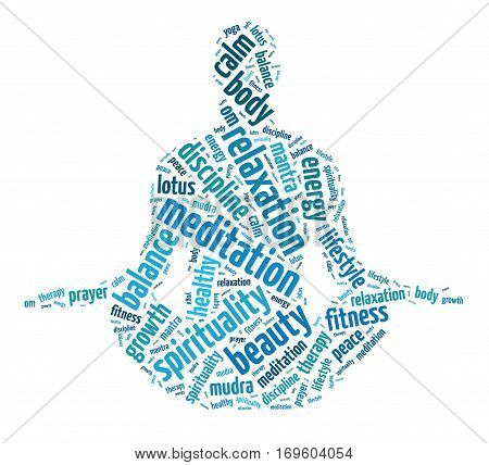 Words illustration of a person doing meditation over a white background