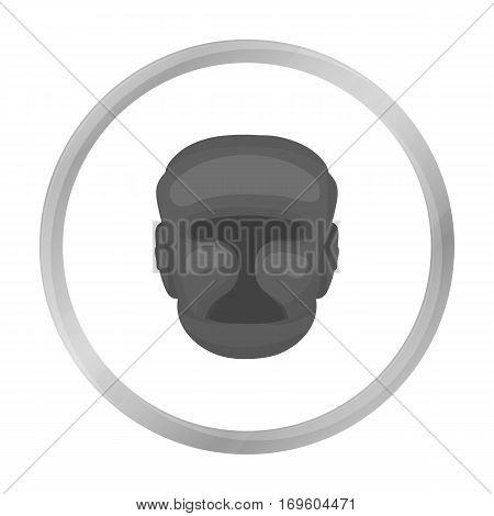 Boxing helmet icon in monochrome style isolated on white background. Boxing symbol vector illustration.