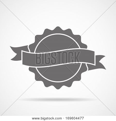 Simple medal icon with ribbon. Gray medal with shadow in flat design. Silhouette of trophy awards or medal. Vector illustration.