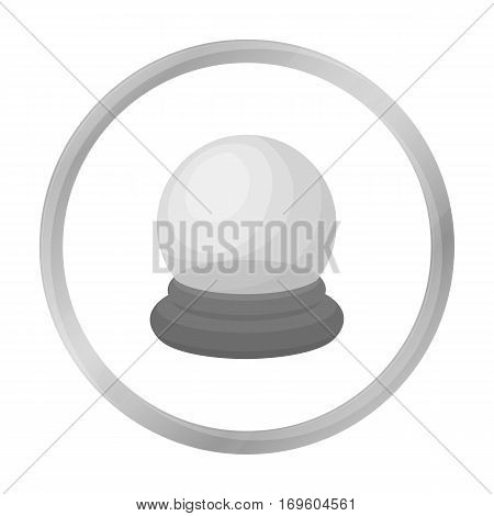 Crystal ball icon in monochrome style isolated on white background. Black and white magic symbol vector illustration.