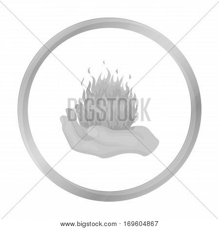 Fire spell icon in monochrome style isolated on white background. Black and white magic symbol vector illustration.
