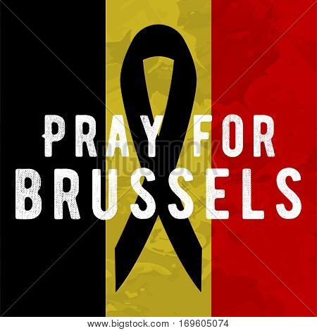 Pray for brussels poster Tribute to victims of terrorism attack in Brussels airport metro, march 22, 2016.