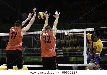 Rio Brazil. August 09 2016. Volleyball men - VIGRASS Graham and SCHMITT Gavin SCHMITT during Brazil (BRA) vs Canada (CAN) at the 2016 Summer Olympic Games in Maracanazinho