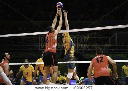 Rio Brazil. August 09 2016. Volleyball men - Bruno Mossa REZENDE (C) (BRA) and DUFF Justin during Brazil (BRA) vs Canada (CAN) at the 2016 Summer Olympic Games in Maracanazinho
