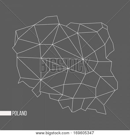Abstract polygonal geometric Poland minimalistic map isolated on grey background
