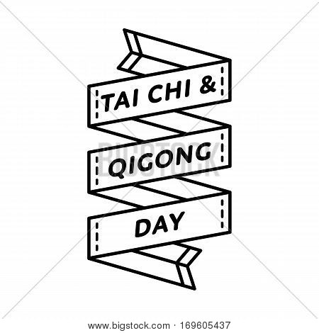 Tai Chi and Qigong day emblem isolated illustration on white background. 29 april world healthcare holiday event label, greeting card decoration graphic element