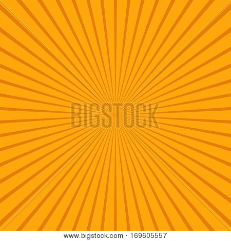 Abstract sunbeams background. Bright sunbeams on orange background. Vector illustration. Abstract bright background