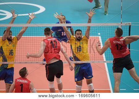 Rio Brazil. August 09 2016. Volleyball men - Mauricio BORGES ALMEIDA SILVA (BRA) during Brazil (BRA) vs Canada (CAN) at the 2016 Summer Olympic Games in Maracanazinho