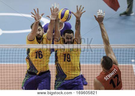 Rio Brazil. August 09 2016. Volleyball men - Lucas SAATKAMP (BRA) and Mauricio BORGES ALMEIDA SILVA (BRA) during Brazil (BRA) vs Canada (CAN) at the 2016 Summer Olympic Games in Maracanazinho