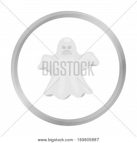 Ghost icon in monochrome style isolated on white background. Black and white magic symbol vector illustration.