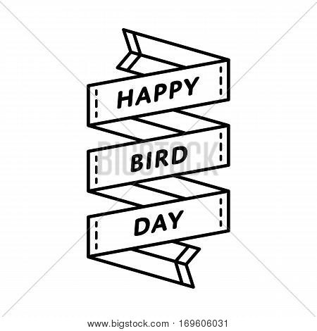 Happy Bird day emblem isolated illustration on white background. 1 april animal rights protection holiday event label, greeting card decoration graphic element