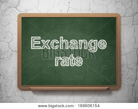 Money concept: text Exchange Rate on Green chalkboard on grunge wall background, 3D rendering
