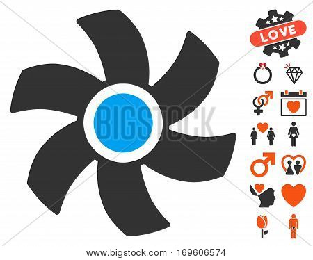 Rotor pictograph with bonus valentine pictograms. Vector illustration style is flat iconic elements for web design app user interfaces.