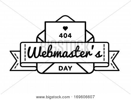 World Webmasters day emblem isolated illustration on white background. 4 april world professional holiday event label, greeting card decoration graphic element