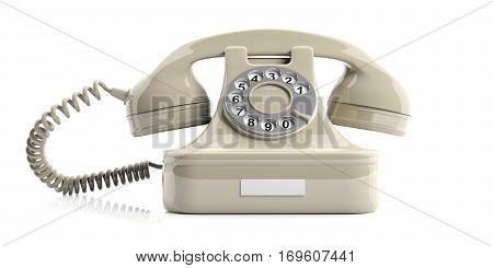White Old Telephone On White Background. 3D Illustration