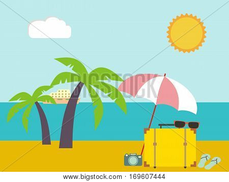 Vector tropical landscape. Sea shore beach with palm trees. Holiday vacation resort tourism travel.
