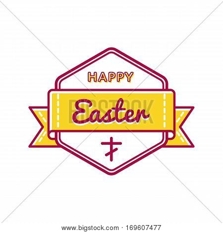Happy Easter emblem isolated illustration on white background. 16 april world christianity holiday event label, greeting card decoration graphic element