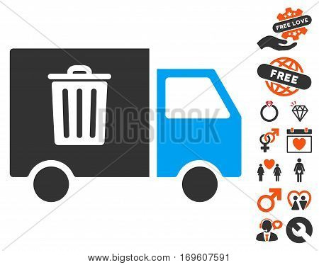 Rubbish Transport Van icon with bonus lovely pictograms. Vector illustration style is flat iconic symbols for web design app user interfaces.