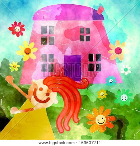 A digitally created painting of a happy little girl standing in front of her home.