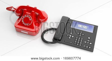 Red Old Telephone And Modern Telephone Device On White Background. 3D Illustration