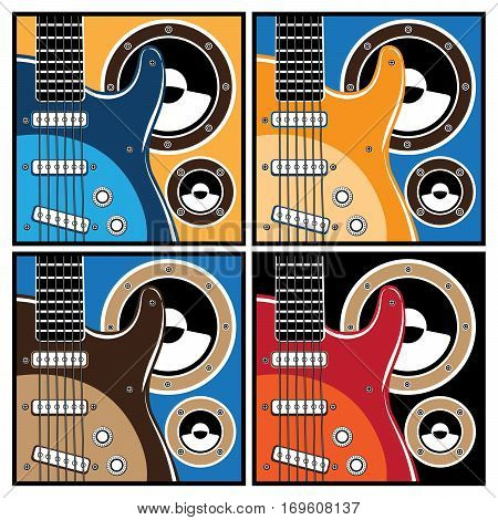 Stylized vector illustrations of electric guitar and speaker system