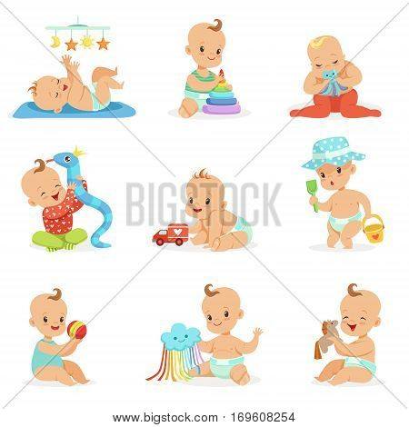 Adorable Girly Cartoon Babies Playing With Their Stuffed Toys And Development Tools Set Of Cute Happy Infants. Sweet Small Kids In Nappies Having Fun And Playing Games Vector Illustrations.