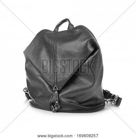 Black leather rucksack on white background