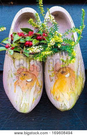 Old Traditional Dutch Wooden Shoes With Flowers