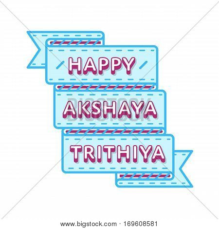 Happy Akshaya Trithiya emblem isolated illustration on white background. 28 april indian religious holiday event label, greeting card decoration graphic element