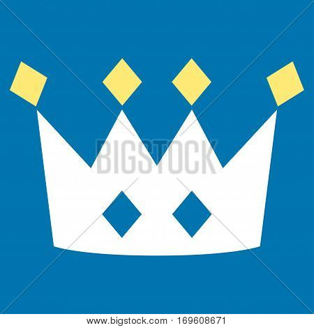 Crown flat icon. Vector bicolor yellow and white symbol. Pictogram is isolated on a blue background. Trendy flat style illustration for web site design logo ads apps user interface.